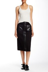 L.A.M.B. Scuba Ponte Calf Length Skirt Black