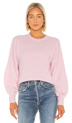 Autumn Cashmere Shaped Rib Bishop Sleeve Crew Sweater In Pink. Blossom