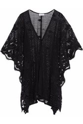 Miguelina Woman Guipure Lace Paneled Crocheted Coverup Black