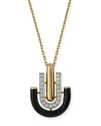 David Webb Black Enamel And Diamond U Drop Pendant Necklace