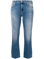 7 For All Mankind Cropped Flared Trousers Blue