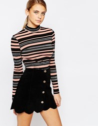 Fashion Union Lurex Stripe Polo Mono