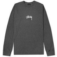Stussy Long Sleeve Pigment Dyed Stock Tee Black