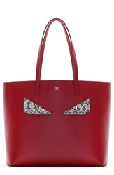 Fendi 'Roll Monster' Genuine Snakeskin Trim Leather Tote