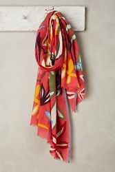 Anthropologie Abstract Floral Scarf Bright Red