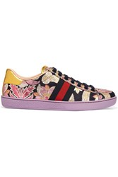Gucci Ace Metallic Leather Trimmed Brocade Sneakers Lilac