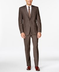 Andrew Marc New York Andrew Marc Slim Fit Mid Brown Donegal Suit