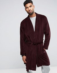 Asos Dressing Gown In Velour Oxblood Red