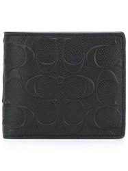 Coach Embossed Flat Wallet Black