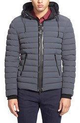 Men's Mackage 'Lux' Water Repellent Hooded Down Jacket With Leather Trim Charcoal