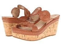 Jack Rogers Leigh Cognac Calf Cork Wedge Women's Sandals Beige