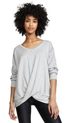 Terez French Terry Twist Sweatshirt Gray