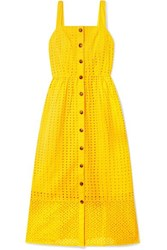 J.Crew Coletta Broderie Anglaise Cotton Voile Midi Dress Yellow