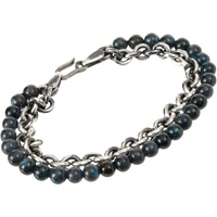 Apatite Bead And Sterling Silver Chain Bracelet
