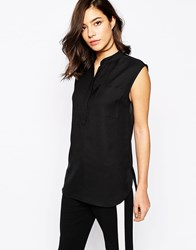 Warehouse Sleeveless Pocket Blouse Black