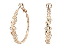 Guess Heart Detail Clutchless Hoop Earrings Rose Gold Crystal Earring