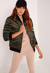 Missguided Petite Satin Quilted Bomber Jacket Khaki