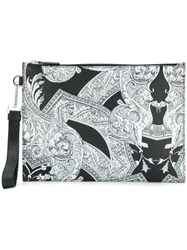 Versace Baroque Print Clutch Calf Leather White