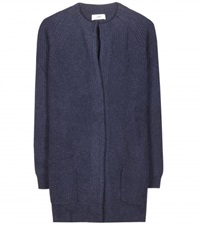 Closed Knitted Wool Cardigan Blue