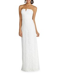 Donna Morgan Strapless Slit Neck Sheath Gown Ivory