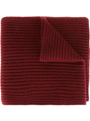 Joseph Ribbed Scarf Red