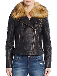 Marc New York Faux Fur Collar Moto Jacket Black