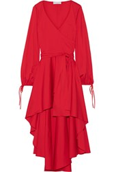 Caroline Constas Lena Asymmetric Wrap Effect Cotton Blend Mini Dress Red