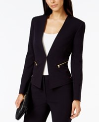 Tahari By Arthur S. Levine Tahari Asl Petite Zip Pocket Collarless Blazer Navy