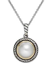 Macy's Cultured Freshwater Pearl Rope Pendant Necklace In Sterling Silver And 14K Gold 10Mm