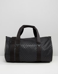 Fred Perry Checked Barrel Bag With Cordura Black