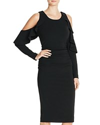 Tracy Reese Ruffle Cold Shoulder Dress Black