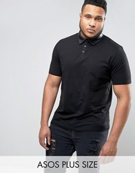 Asos Plus Polo Shirt With Faux Leather Collar Black