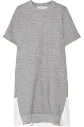 Clu Mesh Trimmed Cotton Blend Terry Mini Dress Light Gray