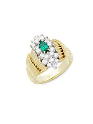 Estate Jewelry Collection Diamond Emerald 18K Yellow And White Gold Ring