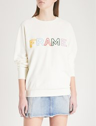 Frame Logo Embroidered Cotton Jersey Sweatshirt Off White