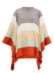 Missoni Striped Wool Poncho Cream Multi