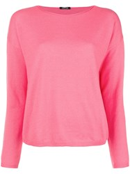 Aspesi Crewneck Knitted Top Pink And Purple