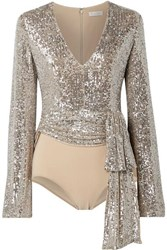 Reem Acra Tie Front Sequin Embellished Tulle And Stretch Jersey Bodysuit Silver