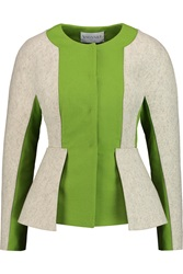 Vionnet Appliqued Two Tone Wool Felt Peplum Jacket Green