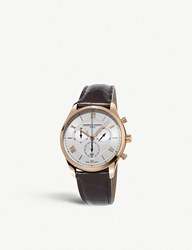 Frederique Constant Fc 292Mv5b4 Classics Chronograph Quartz Rose Gold Plated Stainless Steel And Leather Watch