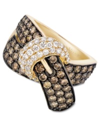 Le Vian Chocolate Diamond 2 1 6 Ct. T.W. And White Diamond 3 8 Ct. T.W. Buckle Ring In 14K Gold