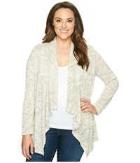 B Collection By Bobeau Curvy Plus Size Amie Waterfall Cardigan Olive Women's Sweater