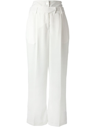 Aviu High Waisted Wide Leg Trouser White