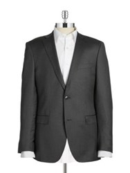 Black Brown Jack Fit Slim Two Button Wool Blazer Charcoal