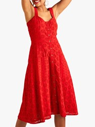 Yumi Broderie Sundress Red