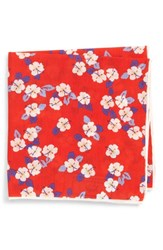 Southern Tide Hanatei Hibiscus Cotton And Silk Pocket Square Coral