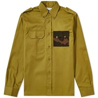 Gosha Rubchinskiy Gabardine Military Pocket Shirt Green