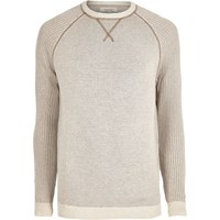 River Island Mens Beige Knit Raglan Sleeve Jumper