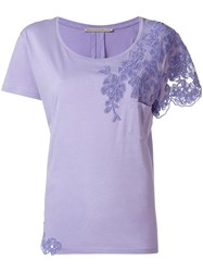 Ermanno Scervino Embroidered T Shirt Pink Purple