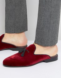 House Of Hounds Backless Suede Loafers Red